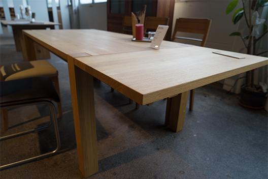 Massivholztisch Ben aus Eiche mit Ansteckplatte