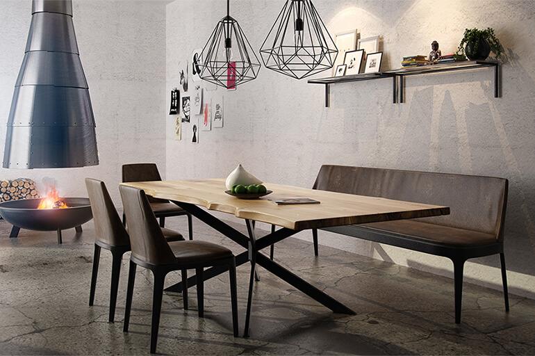 Esstisch Lykk im industrial Style aus Masivholz