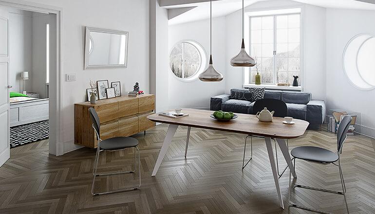 Esstisch im skandinavischen Design mit Massivholzplatte und Metallgestell