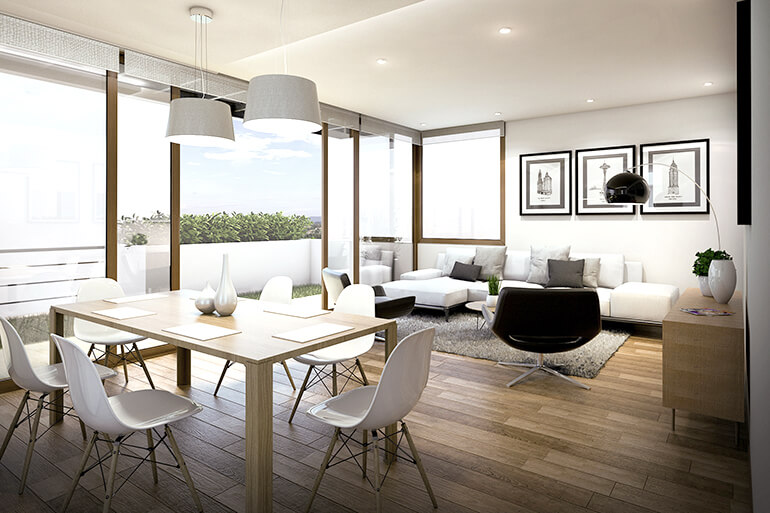 Trendiger offener Wohnraum mit Esszimmer und Wohnzimmer