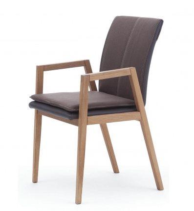 Armlehnstuhl aus Massivholz, gepolstert | COMNATA Esstisch